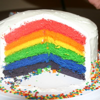 Rainbow Suprise Birthday Cake Rainbow layers are made of vanilla cake with BC. The suprise is when you cut the cake. I have also done this for halloween in candy corn...