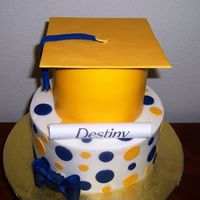 Yellow And Blue Grad Cake