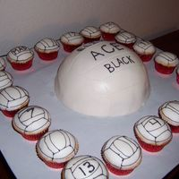 Volleyball Team Party Soccer ball pan with 20 cupcakes with the number of the players.
