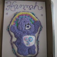 Carebear Birthday   Made from the wilton pan. Royal icing flowers and carebear rind.