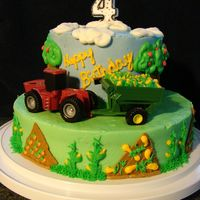 Tanner's Red Tractor Cake  My nephew wanted a red tractor cake. I wanted to do something different, saw a few cakes like this one on CC and wanted to give my own a...