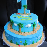 "Bruce's First Birthday Beach Cake All BC. gotta thank facebook for this cake.""1"" is iced cardboard. Smash cake is ball 1/2 of pan, big cake 8"" & 12&quot..."