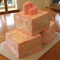 Baby Girl Shower   This was my first Paisley cake. It was lots of fun to be random with the paisley designs but very tedious.