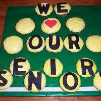 "Cupcakes For ""senior Day"" buttercream icing with fondant letters"