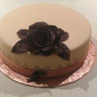 Dummy Cake - Chocolate Plastic Rose This was a dummy cake I made last night. It was covered in fondant with fondant ribbon. I used a textured roller for the ribbed effect and...