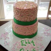 Pink Scroll Cake  This one was of those cakes where nothing goes right. It's for a christening. The sign is pastillage. I'm very very glad to move...