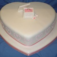 "Pink Engagement 12"" madeira with fondant icing and gumpaste ring box. Royal icing piping to sides."