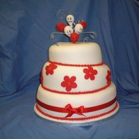 Red And White Birthday Cake 3 tier madeira sponge, fondant icing and accents hand made balloons