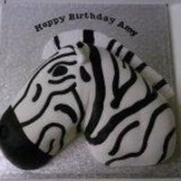 "Zebra Head Carved from a 10"" madeira, covered with white fondant and black inlaid markings."