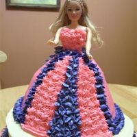 First Doll Cake  Here is my attempt at a doll cake. Made this for my nieces 6th birthday who is very much into Barbie'sBottom layer is french vanilla...
