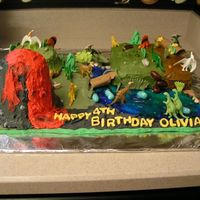 Dinoland Cake This is my daughter's 4th Birthday Cake, she wanted dinosaurs. This was the second cake we have made together. She was in charge of...