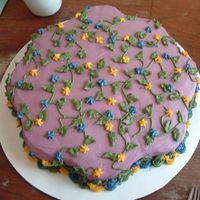 Flowering Vine Cake This is the cake I made for myself this year for my birthday. It was kind of practice cake to get the icing smooth and work with the leaf...