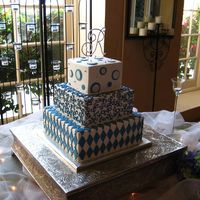 Blue Whimsy All buttercream cake with fondant circles and diamonds. This was a fun cake to do! TFL!