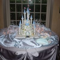 "Castle Cake With Slipper Of Course! This is a cake that I did for ""Make a Wish Foundation"". The birthday girl wanted a cinderella themed quinceanera. The pillow is..."