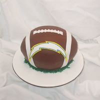Grooms Cake Go Chargers! This was for a cake for a groom who loves the chargers! French vanilla cake w/ chocolate BC. TFL!