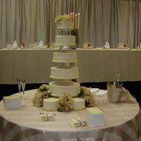 "Dimonds, Dots And Scrolls This five-tier cake was designed for a bride that wanted ""big"" cake with alternating patterns."