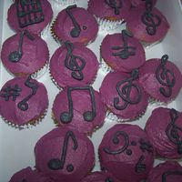 Musical Cupcakes I made these as refreshments to be served at a recent concert of my vocal ensemble. Yellow cupcakes with raspberry filling; iced in BC with...