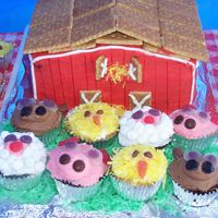 Farmyard Cake And Cupcakes I did this cake and cupcakes for my son's daycare's end of year party. They did a play and song with a farm yard theme. Got the...