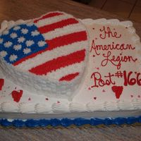American Legion Valentines Cake This is the finished cake, thanks for the great flag idea. I did end up rebaking the heart cake that my daughter decided she was going to...