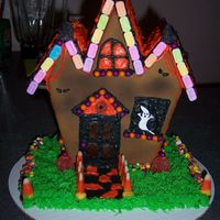 Gingerbread Haunted House Front view of my 1st Gingerbread Haunted House cake.