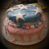 Whimsical 4Th Of July This is my first attempt at a fondant cake. I used a simple fondant recipe that took a few times to learn to cook just right. It is white...