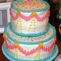 Simple Birthday Cake Chocolate fudge cake with cookie and cream filling and buttercream frosting. I was in a hurry and didn't notice how crooked my dots...