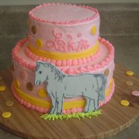 007.jpg This cake was inspired by another here on CC. My friend asked me to make it in her party colors, and make the horse silver to match her...