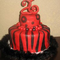26Th Birthday   Chocolate cake with chocolate buttercream, topped with fondant.