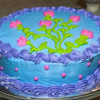 Pink Sweet Peas This is a cake I did using leftover icing from my daughter's sweet 16 cake to practice my reverse shells. They came out better than I...