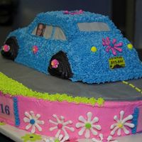 Sweet Sixteen Volkswagon Cake (Back View)  This is a cake for my daughter's 16th birthday. This was a family affair as my mother-in-law, daughter-in-law, and even my husband...