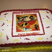 Incredibles Cake This is a cake I did for a friend's son for his birthday. He wanted a yellow cake with chocolate chips and whipped cream icing. He...