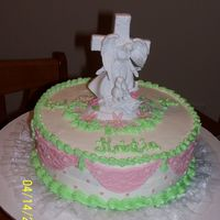 Baptism Cale Made this cake for my best friend who was getting Baptized. All buttercream with Fondant Accents. She loved it!