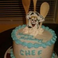Chef's Birthday Cake Made for my husband's best friend who is a chef. Buttercream, with real wooden spoons, and chef hat made from fondant.