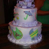 Baby Shower Cake Made this in 2 hours for my daughters baby shower - my most favorite that I have ever made - all butter cream with fondant accents