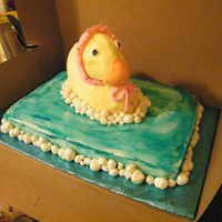 Ducky  This was for a baby shower. Bottom cake was white and choc. Duck was yellow. I had a lot of trouble with the duck pan. So he is leaning a...