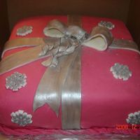Christmas Present  I did this for a co-worker for a Christmas party. The cake was devil's food and the butter cream is cream de mint and I flavored the...