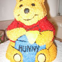 Winnie The Pooh 3D Cake With Honey Pot I made this cake for my God Daughter's Birthday. *Tip: When pouring in batter to the cake pan, do NOT overfill the pan like I did! It...