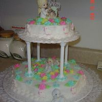 My God Daughter's Baptism Cake  I used buttercream icing to decorate this cake with lots of pastel roses made ahead of time. I bought the sugar candy lambs to attach to...