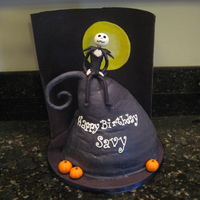 The Nightmare Before Christmas Chocolate cake with chocolate buttercream and then covered in mmf. Made a back panel of black mmf a few days in advance so that it would be...
