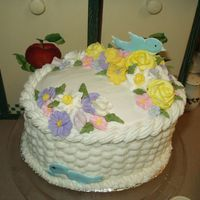 Course 2 Final Cake Wilton Course 2 final cake. Basket weave. Beautiful flowers!