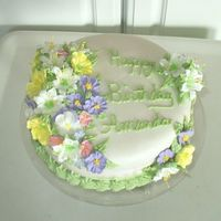 Fondant Cake With Spring Flowers This was a birthday cake for my sister. I used royal frosting flowers that I made in course 2 and course 3. I used homemade marshmallow...