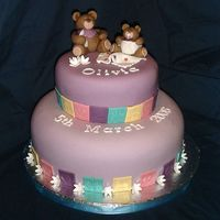 Lilac Teddies Christening Cake 2 tier lilac stacked cake for a christening. I made this for one of my friends baby girls christening, she adored it!