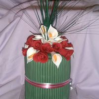 "Flower Bouquet Cake This was made from rich fruit cake, i used two 5"" round cake tins, then just stacked them on top of each other once cooled. i made..."