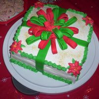 Christmas Cake 2006 This was the first time I made a fondant bow and buttercream poinsettas. Next time, I think I will make my bow thicker, I should have made...