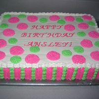 Pink And Green Polka Dot First Birthday Cake. . . Matching smash cake
