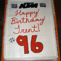 Ktm Birthday Cake Trent is 11 and he loves to race his KTM. His bike # is 96. He wanted KTM and KTM Orange on his cake. This is what I came up with. Yellow...