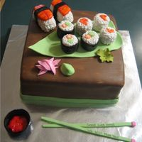 Sushi Sushi Cake  I made this cake for someone that was leaving their current job for a better one. She loves sushi so they wanted a sushi cake for her. This...