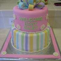 "Daisy Baby Shower Cake  I made this cake for my friend that is expecting. Her theme was daisys and this is what she wanted me to make. The cake is 8"" & 10..."