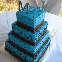 Blue Tongues  Based on a swatch that the bride gave me. I loved it, but it was pur blue icing, so I'm sure the guests went home with colored mouths...