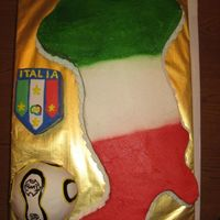 Italia This was for the groom. His family is from Italy and they all love soccer. So we substitued The two Italina islands for the Worl Cup Soccer...